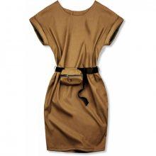 Hnědé koženkové šaty