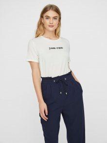 Bílé tričko s potiskem AWARE by VERO MODA Woman