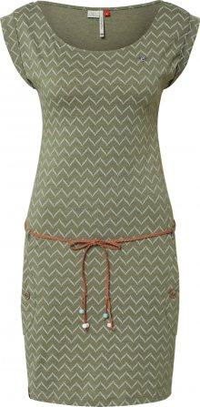 Ragwear Letní šaty \'TAG ZIG ZAG\' olivová / tmavě zelená / offwhite