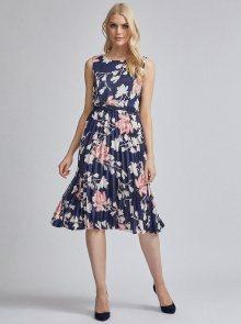 Tmavě modré květované plisované šaty Dorothy Perkins
