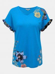 Tyrkysové květované tričko Desigual