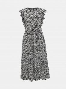 Černo-bílé květované midišaty Dorothy Perkins Petite