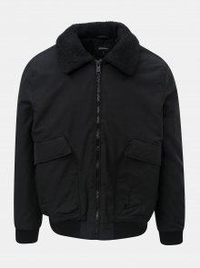 Černá zimní bunda s hřejivým límcem Burton Menswear London Franklin