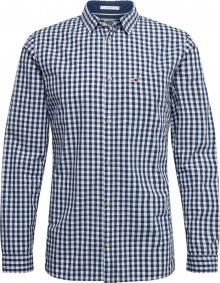 Tommy Jeans Košile \'TJM OVERDYE POPLIN CHECK SHIRT\' bílá / námořnická modř