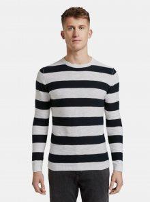 Černo-bílý pánský pruhovaný basic svetr Tom Tailor Denim