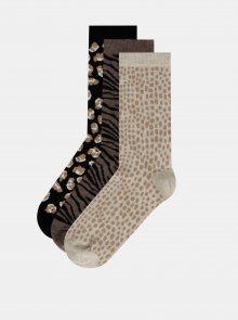 Sada tří párů vzorovaných ponožek v černé, hnědé a béžové barvě M&Co