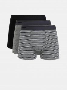 Sada tří boxerek v šedé a černé barvě Selected Homme Sebastian