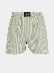 Bílo-zelené pánské pruhované trenýrky ELKA Underwear