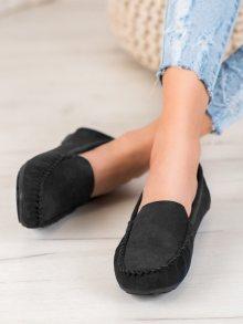 Klasické dámské  mokasíny černé bez podpatku