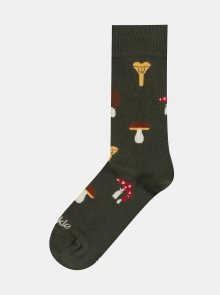 Khaki vzorované ponožky Fusakle Hubar
