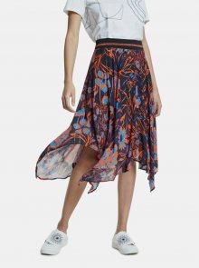 Tmavě modrá květovaná sukně Desigual