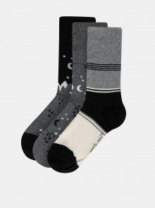 Sada tří párů vzorovaných ponožek v černo-šedé barvě M&Co