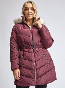 Vínový prošívaný zimní kabát Dorothy Perkins Curve
