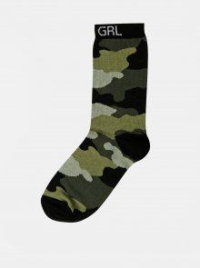 Khaki holčičí maskáčové ponožky M&Co