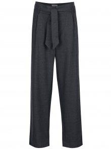 Tmavě šedé volné kalhoty s vysokým pasem a příměsí vlny Selected Femme Lima