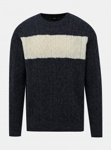 Tmavě modrý svetr s příměsí vlny Burton Menswear London