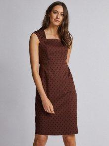 Tmavě hnědé puntíkované šaty Dorothy Perkins