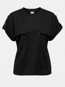 Černé tričko s kapsami Jacqueline de Yong Lulu