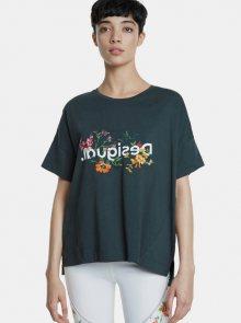 Tmavě zelené oversize tričko Desigual Flowers