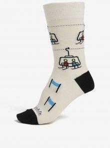 Černo-krémové unisex ponožky s motivem sjezdovky Fusakle Chopok zima