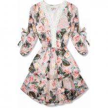 Růžové květinové šaty s volány a krajkou