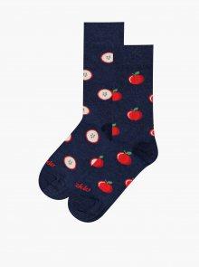 Tmavě modré vzorované ponožky Fusakle Jablko