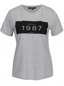 Šedé žíhané tričko s potiskem VERO MODA History
