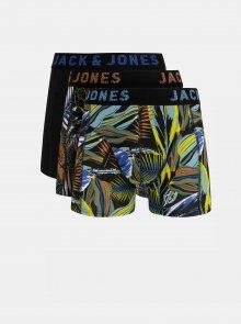 Sada tří vzorovaných boxerek v modré, žluté a černé barvě Jack & Jones Cleaves