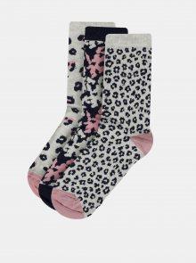 Sada tří párů vzorovaných ponožek v šedé a tmavě modré barvě M&Co