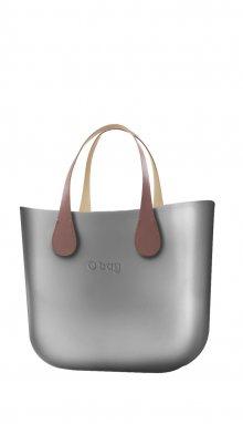 O bag kabelka MINI Silver s krátkými koženkovými držadly Extra Slim Phard