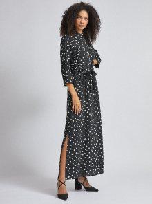 Černé puntíkované košilové maxi šaty Dorothy Perkins