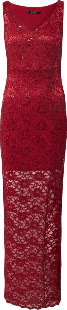 SWING Společenské šaty vínově červená