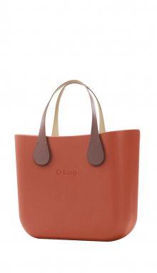 O bag kabelka MINI Terracotta s krátkými koženkovými držadly Extra Slim Phard