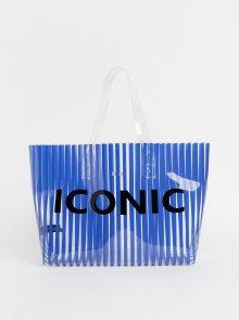 Modrá transparentní pruhovaná plážová taška Pieces Nina