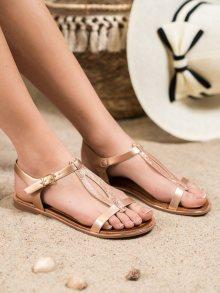 Krásné  sandály zlaté dámské bez podpatku