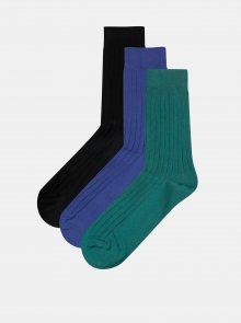 Sada tří párů ponožek v modré, zelené a černé barvě Jack & Jones Gam
