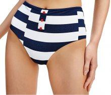 Tommy Hilfiger Dámské plavkové kalhotky Broken Str - Pitch Blue High Waist Bikini XS