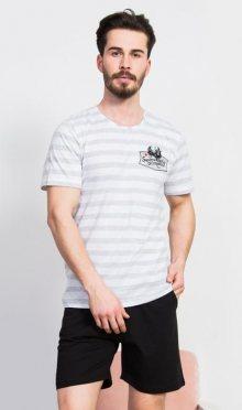 Pánské pyžamo šortky Vienetta Secret Býk | světle šedá | L