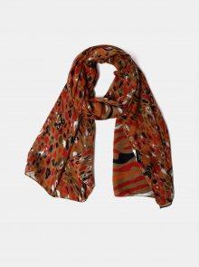 Červeno-hnědý vzorovaný šátek Pieces Namira