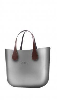 O bag kabelka MINI Silver s krátkými koženkovými držadly Extra Slim Marrone