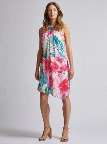 Zeleno-růžové květované asymetrické šaty Dorothy Perkins