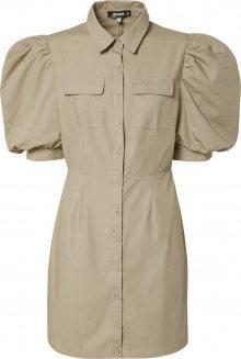 Missguided Košilové šaty \'POPLIN PUFF SLV UTILTY SHIRT DRESS\' béžová