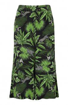 Široké capri kalhoty z krepu se vzorem / se vzorem