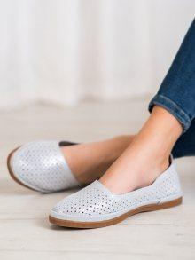 Stylové  tenisky dámské šedo-stříbrné bez podpatku 36