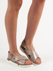 Zajímavé  sandály šedo-stříbrné dámské bez podpatku 36