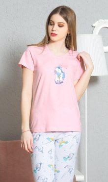 Dámské pyžamo kapri Jednorožec světle tyrkysová S