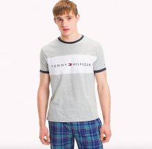 Tommy Hilfiger Pánské Tričko S Krátkým Rukávem Šedé S