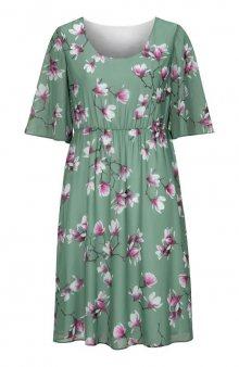Květované slavnostní šaty se širokými rukávy / mat. zelená/květovaná