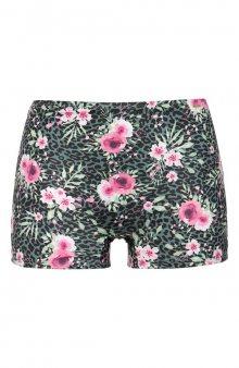 Květované bikinové kalhotky s nohavičkami / zelená/květovaná