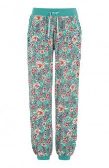 Velurové kalhoty se vzorem / Matná tyrkysová/květovaná